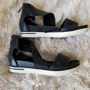 Eileen Fisher Sport wide strap black sandal